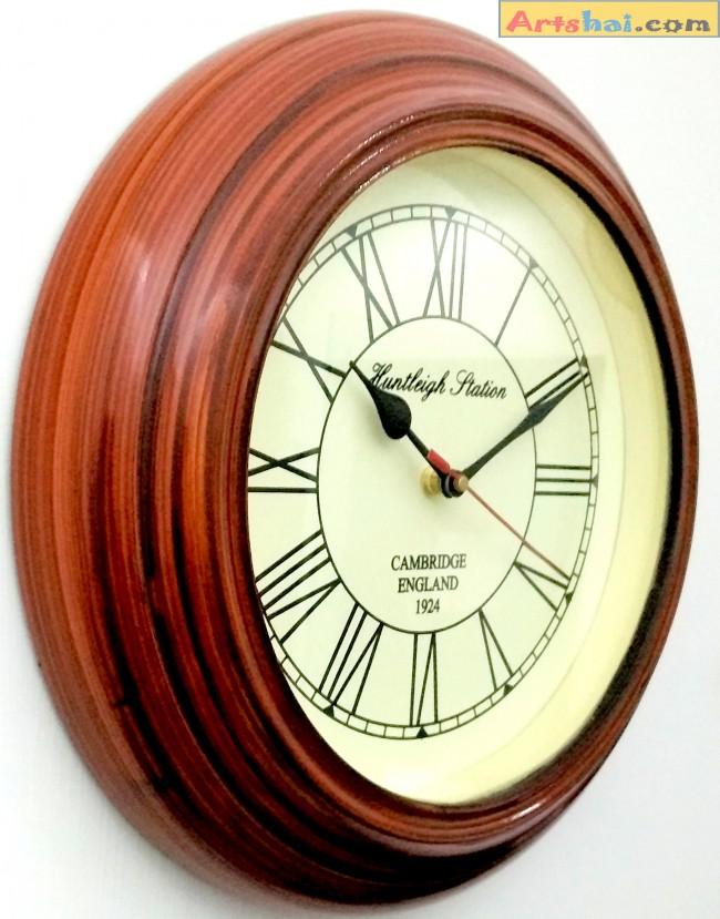 Artshai Antique Look 12 Inch Brown Wooden Wall Clock