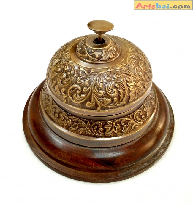 Artshai antique style table desk office bell hotel service desk bell made  from brass and wood - Artshai Brass Brown Antique Look Designer Table Bell