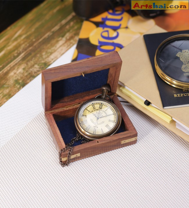 5212efc6e Artshai Antique Look Pocket watch with Sheesham wood box -Artshai355