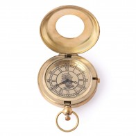Artshai Golden Push Button Queen Design Pocket Watch with Leather Case