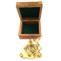 Artshai 3 inch Sundial Compass with sheesham Wooden Box Unique Gift Items