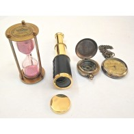 Artshai Combo Of Telescope, Hourglass, Magnetic Compass And Pocket Watch With Sheesham Wood Box