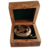 Artshai 2 inch Sundial Design Magnetic Compass with Wooden Box
