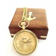 Artshai Golden Pocket Watch with Wooden Box