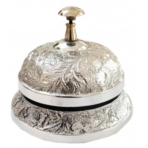 Artshai Antique Silver Finish Office Table Hotel Counter Call Ring Bell