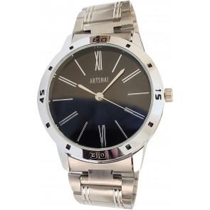 Artshai Designer Silver Wrist Watch with Black dial .Analog Wrist Watch for Men