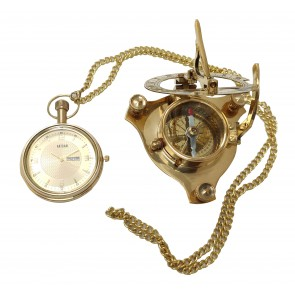 Artshai Combo of 3 Inch Brass Sundial Compass and Pocket Watch with Date and Day Calendar Feature