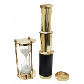 Artshai Combo of Pocket Telescope and Sleek Brass Hourglass with 1 Minute Sand Timer. Nautical and Desk Decor