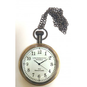 Artshai White dial pocket watch with chain. Antique style watches