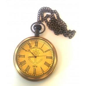 Artshai Antique look Victoria London Pocket Watch with chain.