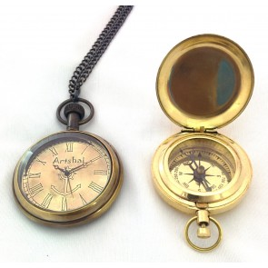Artshai Beautiful Pocket Watch and Push button Magnetic Compass Combo