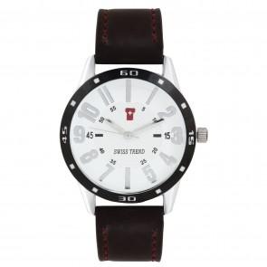 Swiss Trend Original Elegant white dial mens wrist watch, Genuine brown leather.Artshai1602