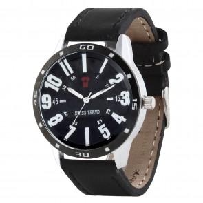 Swiss Trend Original Black dial Gents watch, Genuine Black dial and leather strap.Artshai1603