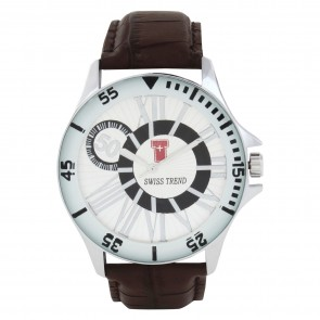 Swiss Trend branded  watch for men with genuine leather case and metallic dial.Artshai1604