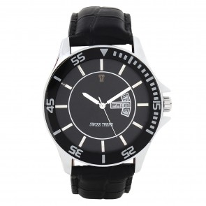 Swiss Trend designer black dial gents watch with  DATE and DAY function.Artshai1611