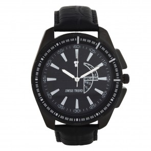 Swiss Trend latest and stylish design black dial mens watch with black leather strap.Artshai1613