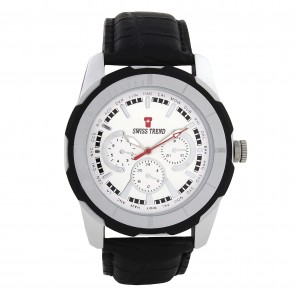 Swiss trend  celebrity design Mens watch. White dial and black leather. Artshai1614.