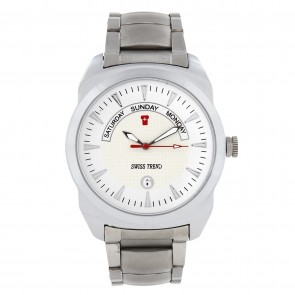 Swiss Trend full metal watch with white dial and silver chain.Artshai1617