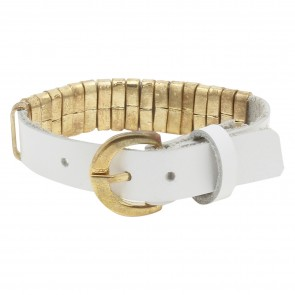 Artshai Girls Leather band (White, Golden, Pack of 1)