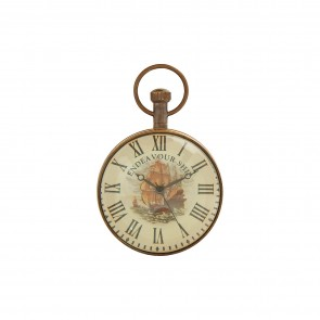 Artshai Antique Endeavour Ship Sytle 2 inch Table Clock Cum Paper Weight Made from Brass