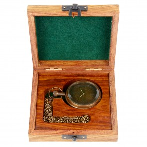 Artshai Antique look mechanical hand winding pocket watch with sheesham wood box