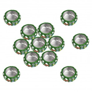 Artshai set of 12 decorative diwali diya tealight holders, Green Color Candle Holders