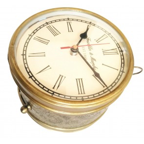 Artshai 6 inch designer 2 side station clock made from Iron with brass finish