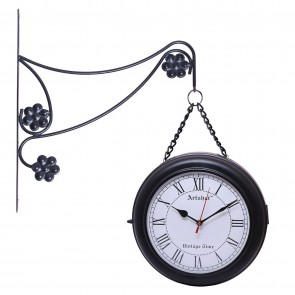 Artshai 2 side Black chain Station Clock, High quality 2 side clock