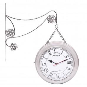 Artshai Antique style 2 side Iron Metal Wall Clock. High quality Chain station clock