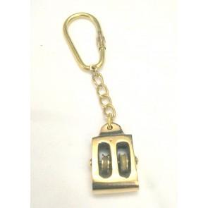 Artshai Solid Brass Pulley Design Keychain   Nautical