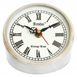Artshai Antique Style 4 inch Round Metallic Look Table Clock