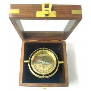 Artshai magnetic compass direction finder in wooden box used in ships