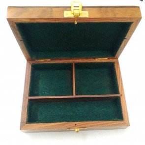 Artshai Wooden Jewellery/Tool Storage Box with 3 Compartment, Size 18x14x6.5 cm