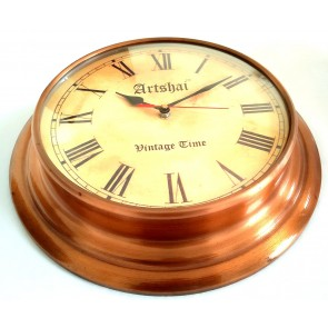 Artshai Copper finish Antique look wall Clock with 12.5 inch size