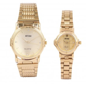 Artshai Analogue Gold Dial Men's and Women's Couple Watch - Pack of 2