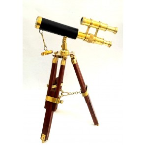 Artshai Small Decorative Double Barrel Telescope with Tripod Stand Made from Brass