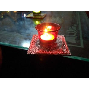 Artshai set of 2 designer glass tealight holder