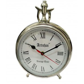 Artshai 6 inch dial Big Size Metallic Table and Desk Clock