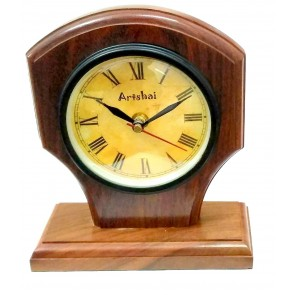 Artshai Antique Look Handicraft Sheesham Wood Table Clock