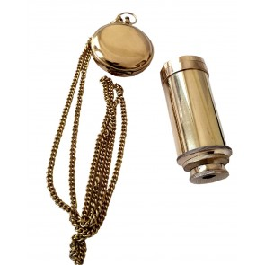 Artshai Golden Pocket Watch and Telescope Gifting Combo