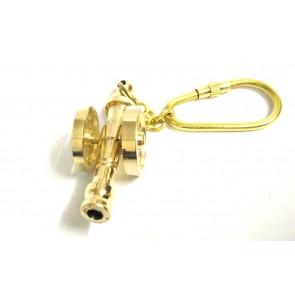 Shiny Brass Canon Keychain