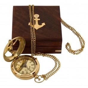 Artshai Premium Sundial design Golden Pocket Watch with chain.